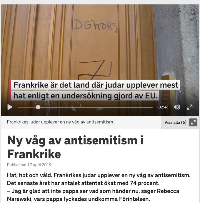 SVT om antisemitismen i Frankrike